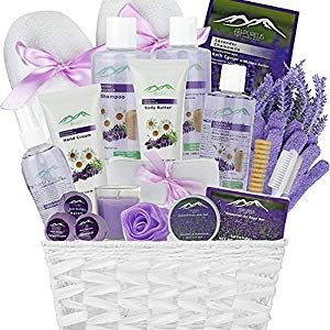 Premium Deluxe Bath & Body Gift Basket. Ultimate Large Spa Basket! #1 Spa Gift Basket for Women (Lavender Chamomile)