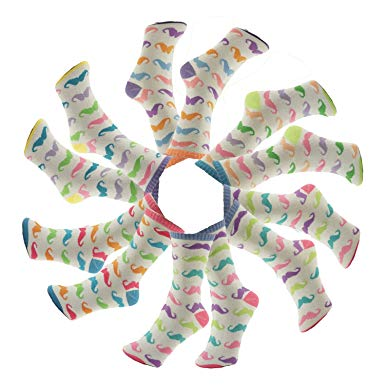 SALE 12 Pack Fun Novelty Special Back to School Gift Idea Sock Sets by TravelNut (ASSORTED COLORS)