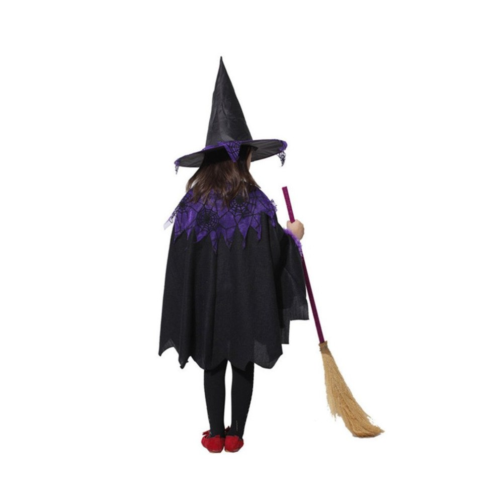 Sensfun Costumes for Women Girls Knee High Black Witch Cloak with Hat Dress