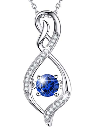 September Birthstone Sapphire Necklace Infinity Love Pendant Sterling Silver Swarovski Jewelry Birthday Gifts for Women