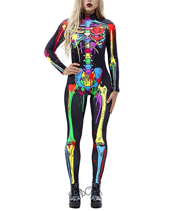 Women 3D Style Halloween Cosplay Costumes Jumpsuit Bodysuit