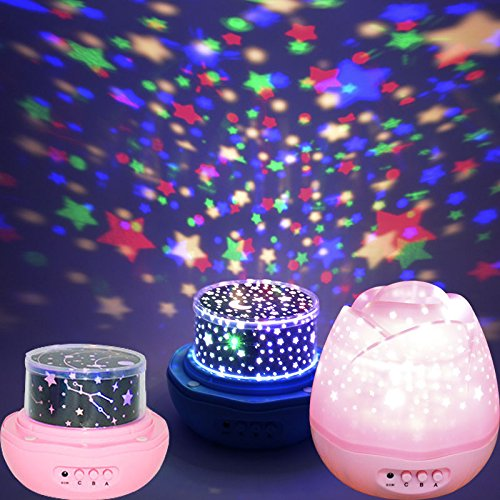 DTS-ES Led Colorful Dream Light, Stars And Moon Projection Effect, Very Quiet On Rotation, USB Power Supply Or Dry Cell