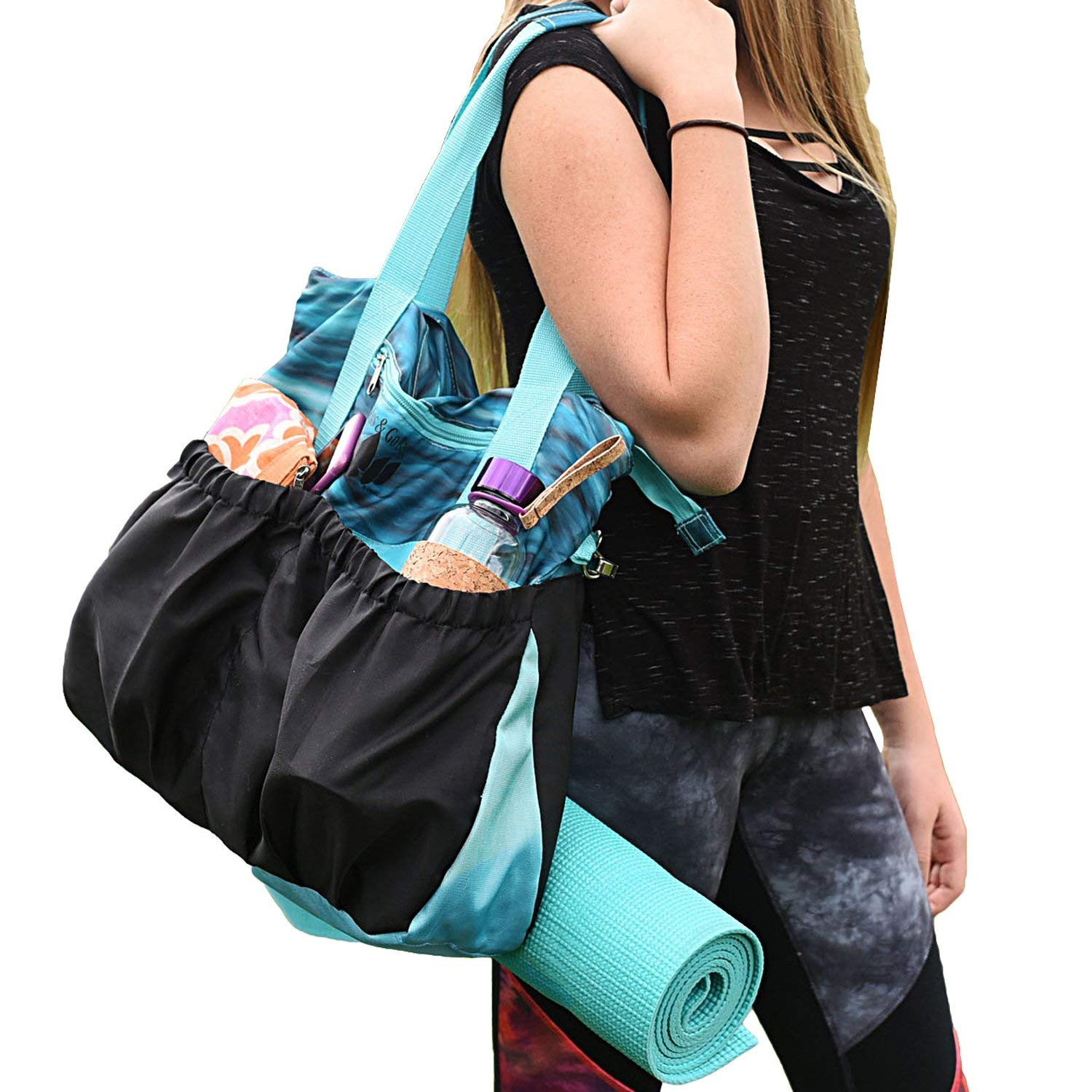 GRS Products Small Yoga Bags, Yoga Mat Bag or Yoga Tote Bag has Many Pockets with Inside Padded Tablet Compartment