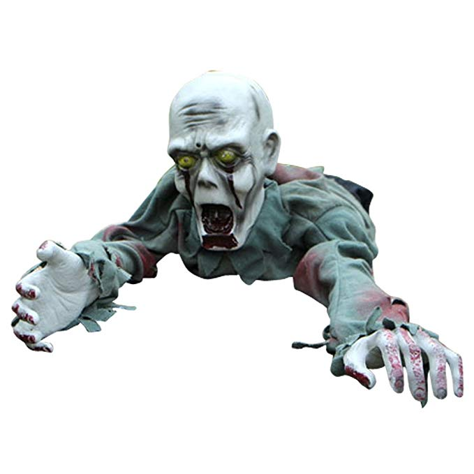 LETSQK Animated Crawling Zombie Bloody Skeleton Halloween Haunted House Decorations Prop