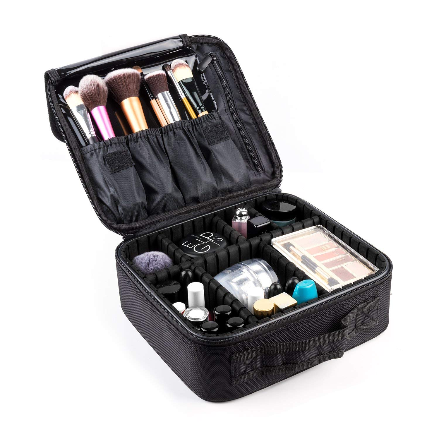 Makeup Train Case,FORTECH Makeup Case Organizer Portable Artist Storage Bag for Cosmetics