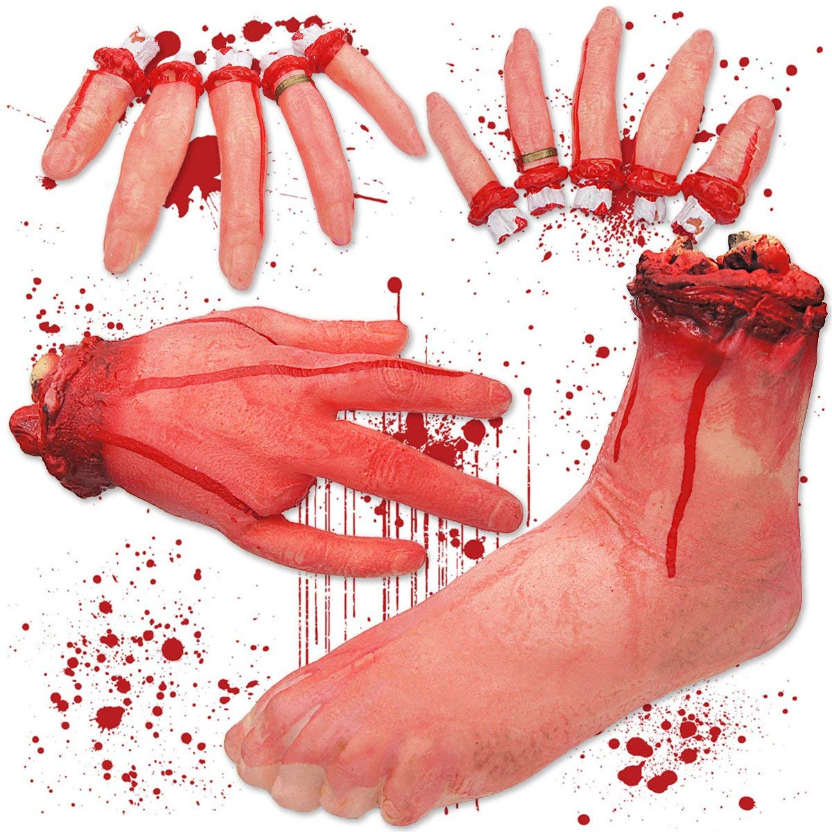 Pawliss Halloween Body Parts, Severed Fake Hand Foot Fingers, Horror Bloody Props, Haunted House Decorations
