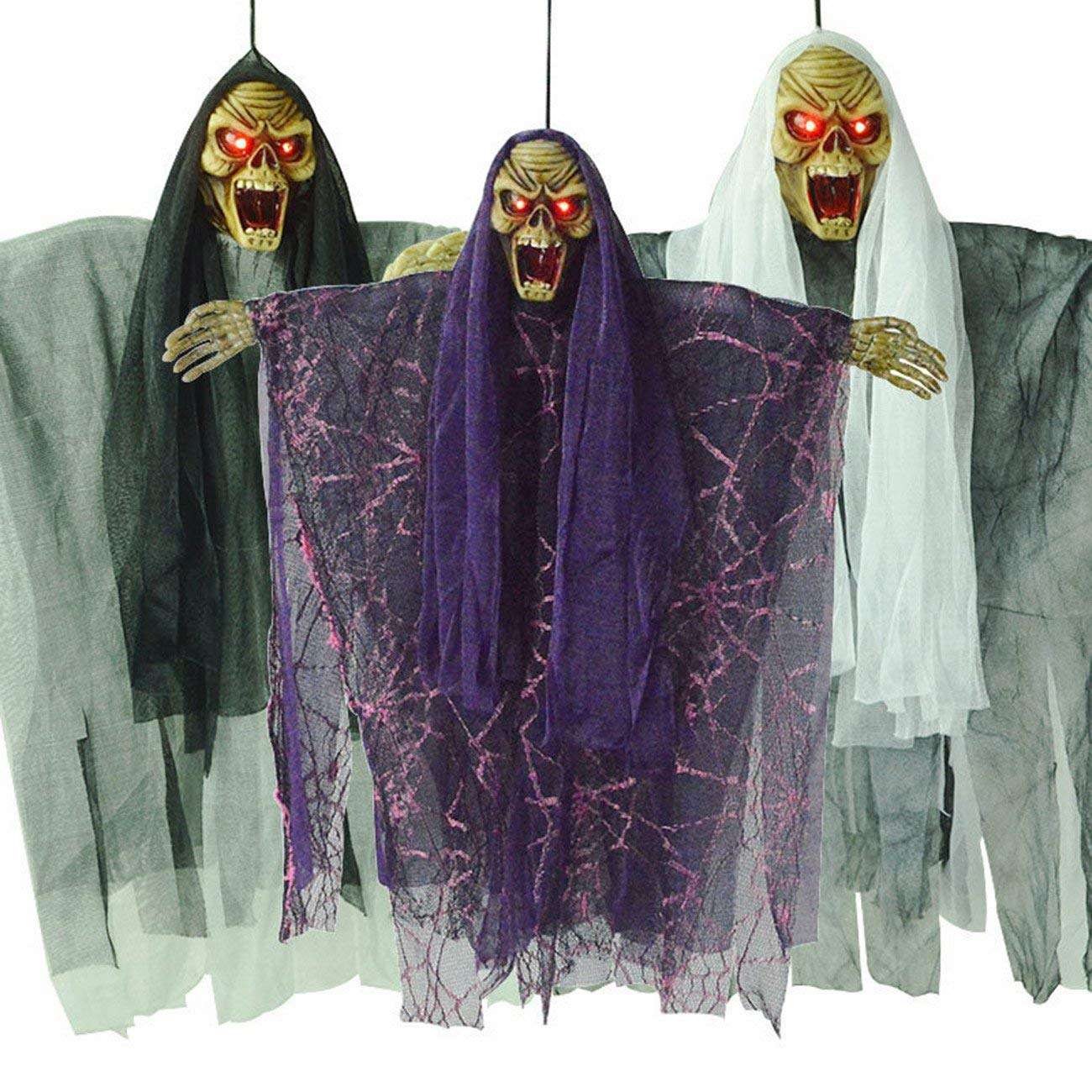 THEE 1pcs Hanging Animated Talking Witch Halloween Haunted House Prop Decor