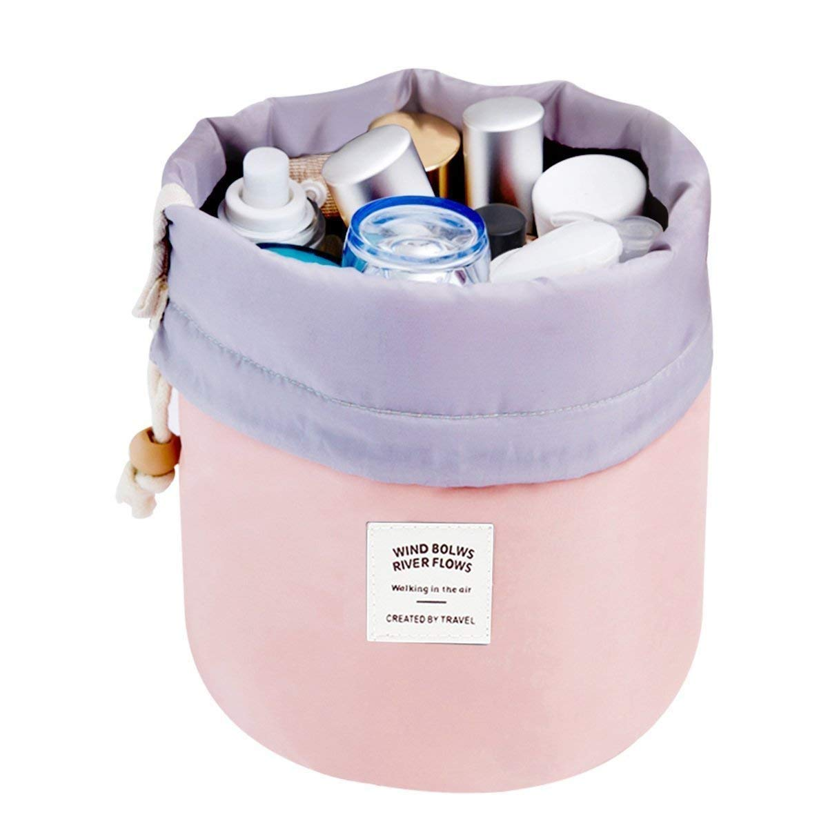 Travel Cosmetic Bags Barrel Makeup Bag