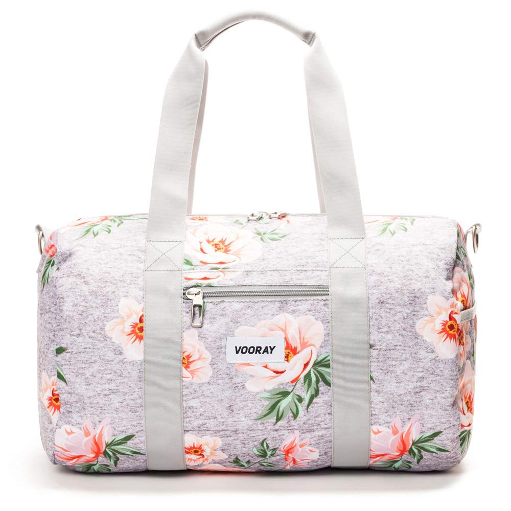 Vooray Roadie 23L Small Gym Duffel Bag, Rose Floral Gray