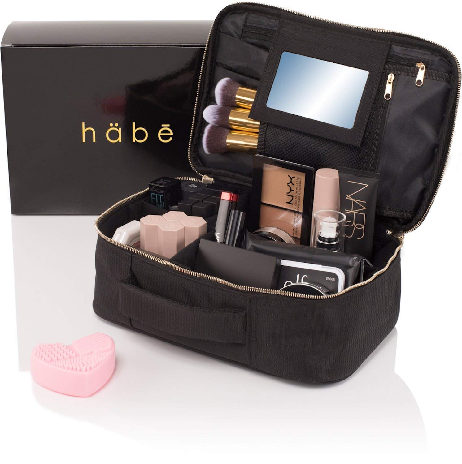 habe Travel Makeup Bag with Mirror