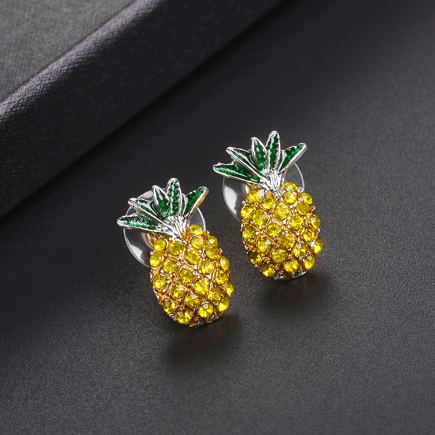 Fruit Cocktail Pave Pineapple Stud Earrings