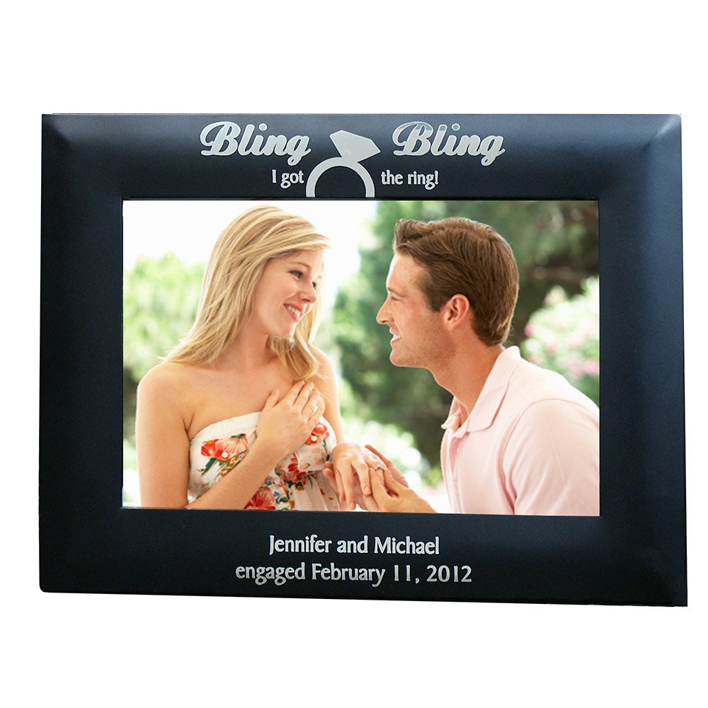 GiftsForYouNow Engraved Engagement Picture Frame