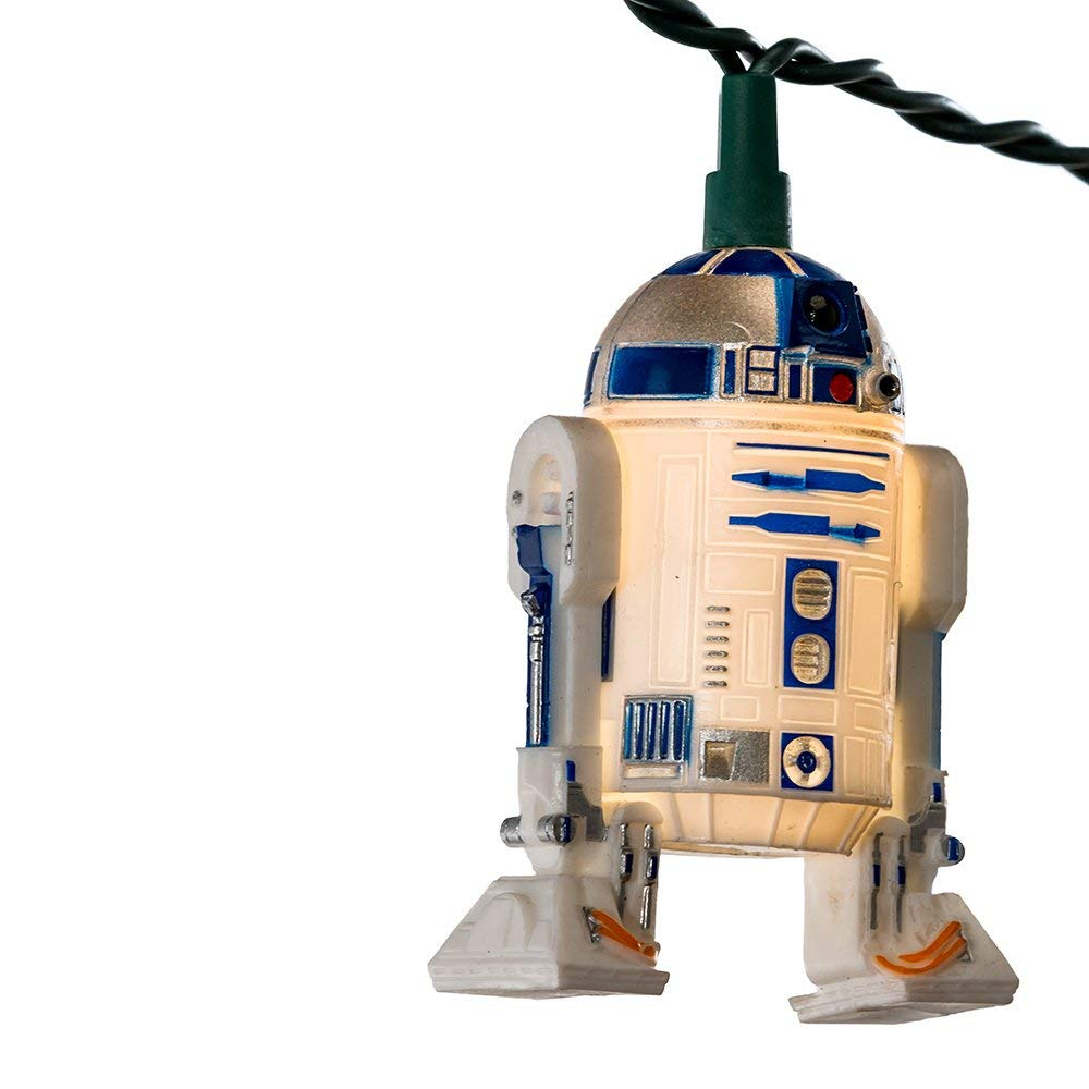 This novelty light set features 10 R2D2 lights with 30-inch lead wire and 12-inch spacing.