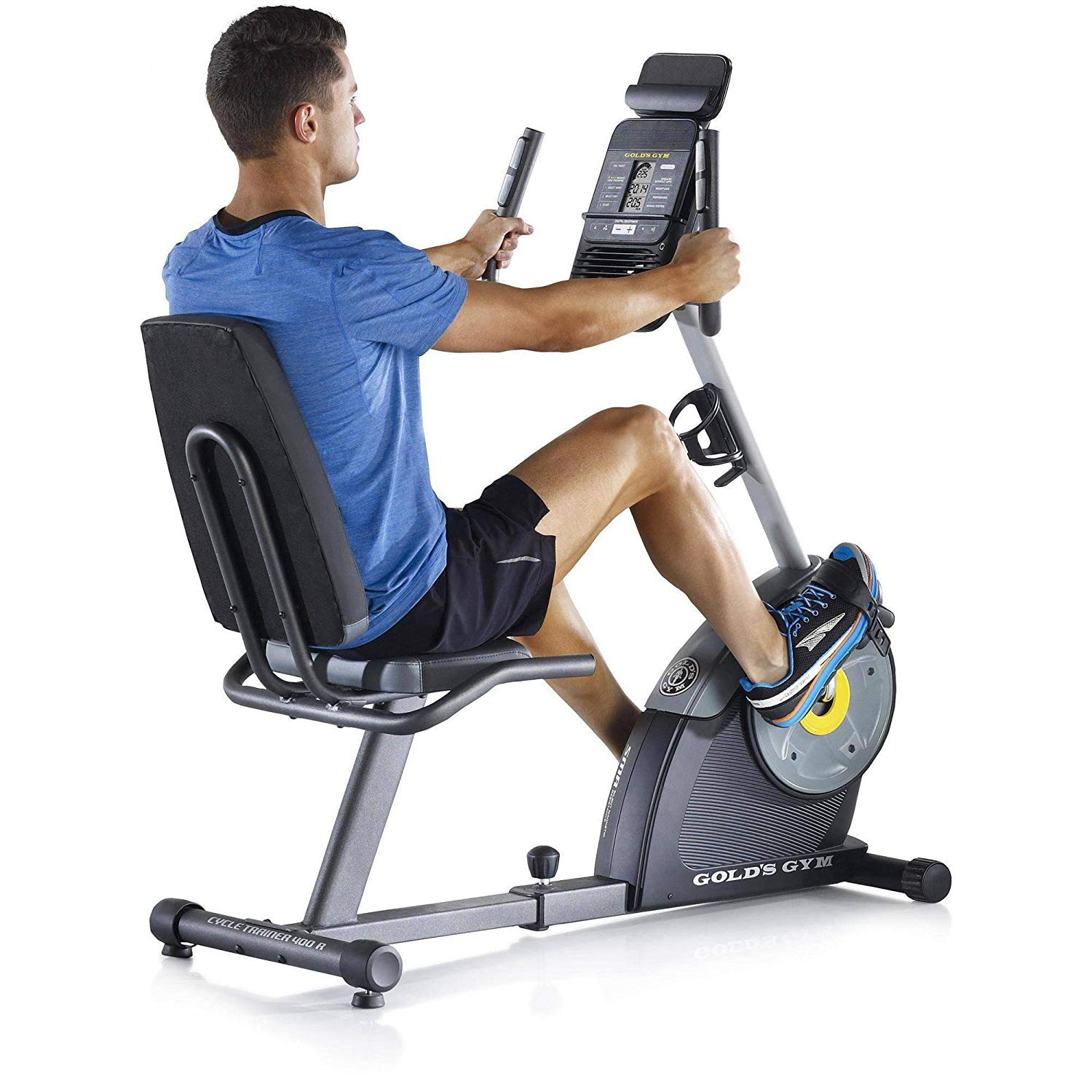 Gold's Gym Cycle Trainer 400R Exercise Recumbent Bike Tablet Holder