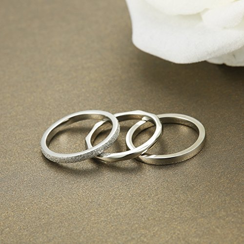 Gift Ideas to Give To Your Wedding Party -JOERICA 3Pcs 2mm Stainless Steel Women's Stackable Eternity Ring