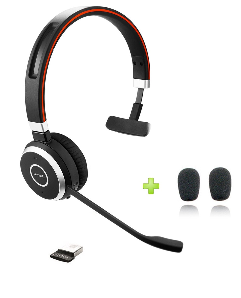 Jabra Evolve 65 Bluetooth UC Mono Headset Bundle