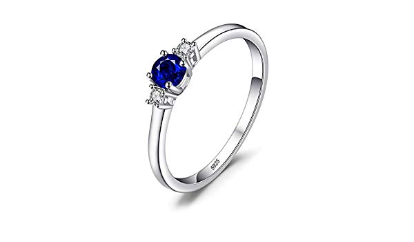 . JewelryPalace Fashion 0.5ct Round Created Sapphire 3 Stones Engagement Promise Ring