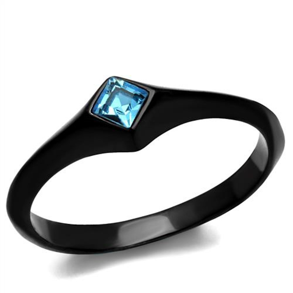 Princess Cut Sea Blue Cubic Zirconia Stainless Steel Black Engagement Ring