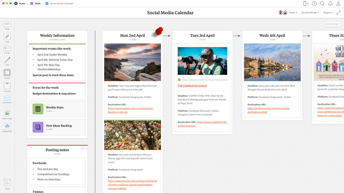 Milanote Social Media Calendar Template