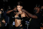 Bella Hadid in lacy black bra