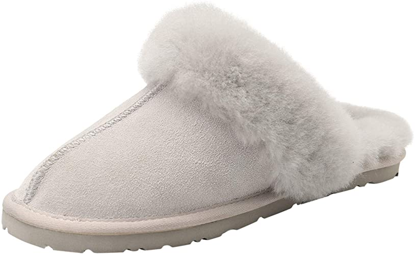 HOMEEY Women's Sheepskin Slippers Real Winter Wool Soft Warm Indoor Outdoor Comfy Cozy Breathable