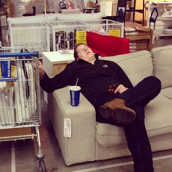 Incredibly Bored Men During Shopping