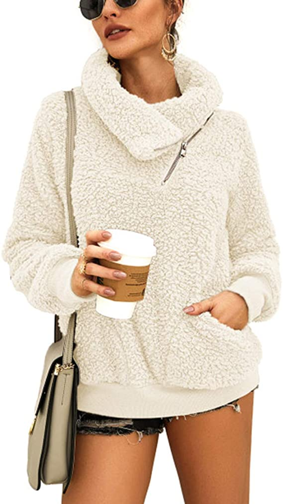 KIRUNDO 2020 Women's Winter Lapel Sweatshirt Faux Shearling Shaggy Warm Leopard Pullover Zipped Up with Pockets Outwear