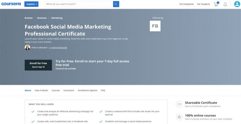 Facebook Social Media Marketing Professional Certificate